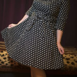 Looking cute in 1950's style polka dress